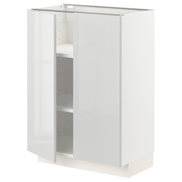 METOD خزانة قاعدة مع أرفف/بابين, أبيض/Ringhult رمادي فاتح, 60x37 سم
