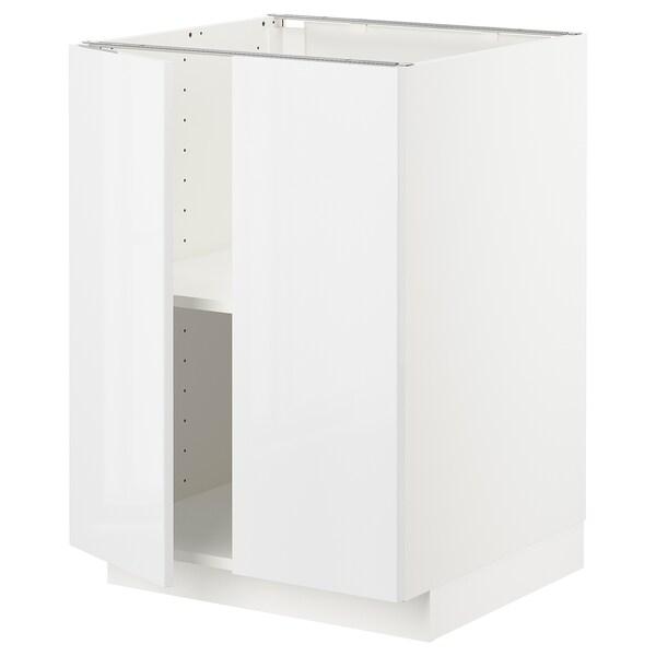 METOD خزانة قاعدة مع أرفف/بابين, أبيض/Ringhult أبيض, 60x60 سم