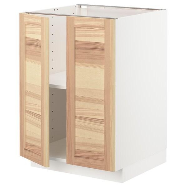 METOD خزانة قاعدة مع أرفف/بابين, أبيض/Torhamn رماد, 60x60 سم