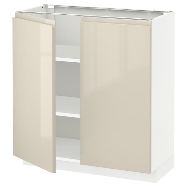 METOD Base cabinet with shelves/2 doors, white/Voxtorp high-gloss light beige, 80x37 cm