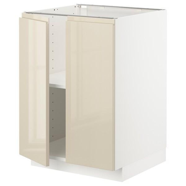 METOD خزانة قاعدة مع أرفف/بابين, أبيض/Voxtorp بيج فاتح لامع, 60x60 سم