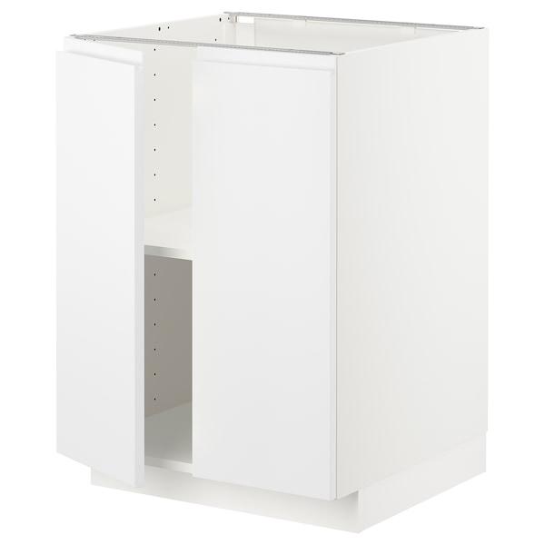METOD خزانة قاعدة مع أرفف/بابين, أبيض/Voxtorp أبيض مطفي, 60x60 سم