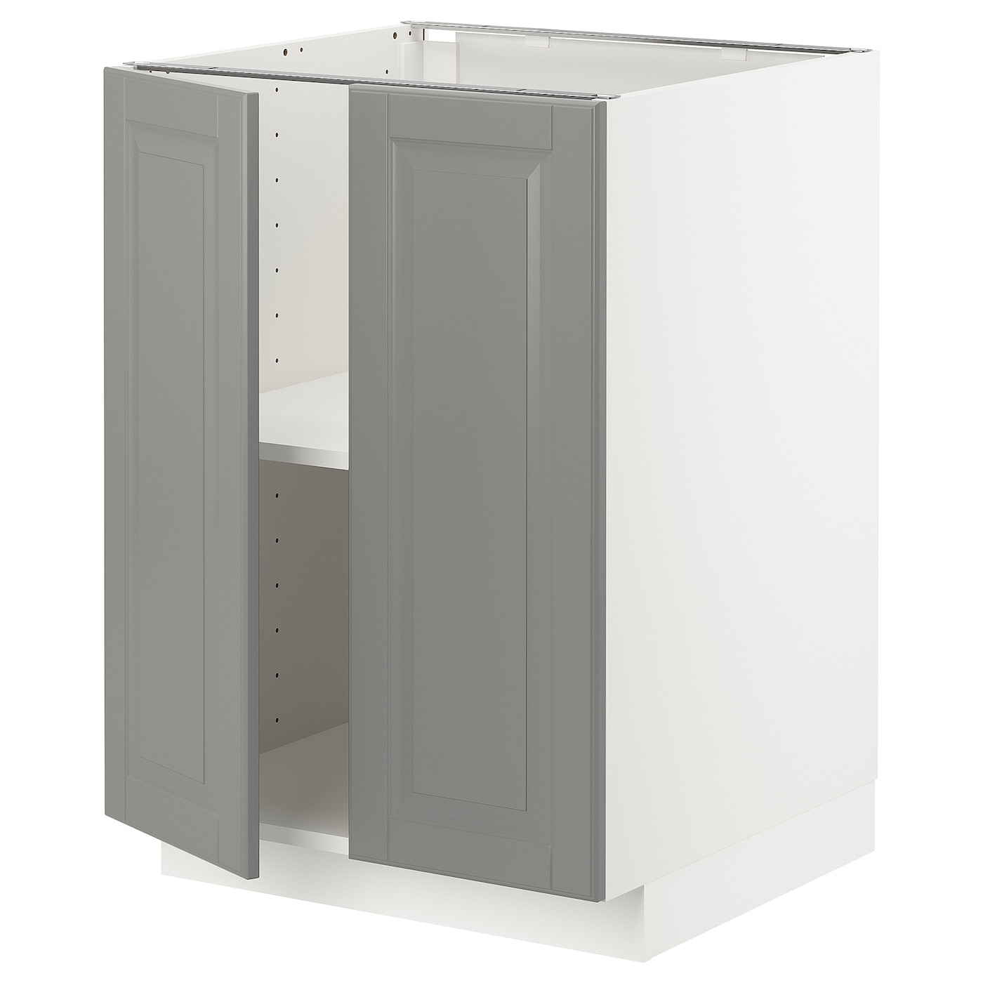 Base Cabinet With Shelves 2 Doors Metod White Bodbyn Grey