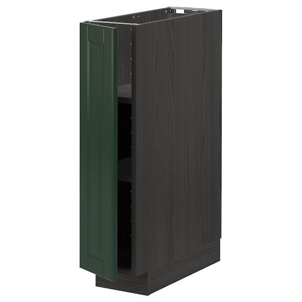 METOD خزانة قاعدة مع أرفف, أسود/Bodbyn أخضر غامق, 20x60 سم