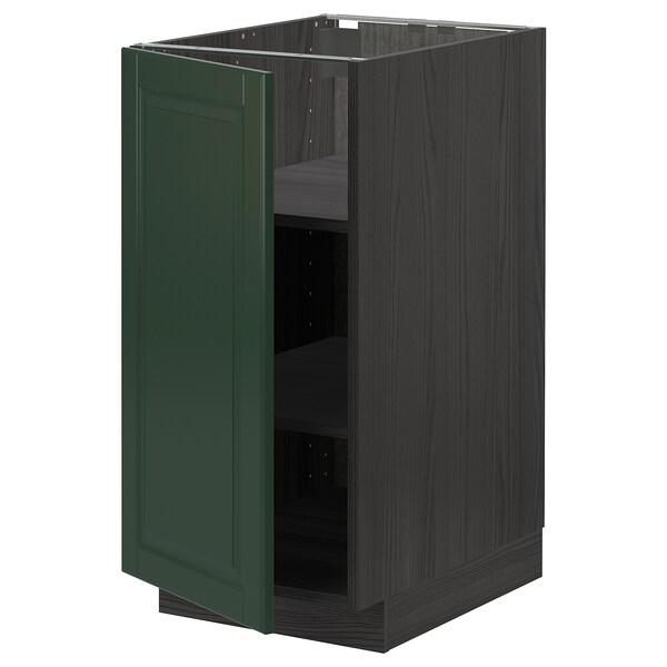 METOD Base cabinet with shelves, black/Bodbyn dark green, 40x60 cm