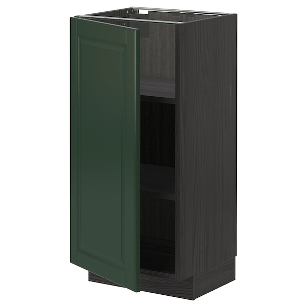 METOD Base cabinet with shelves, black/Bodbyn dark green, 40x37 cm