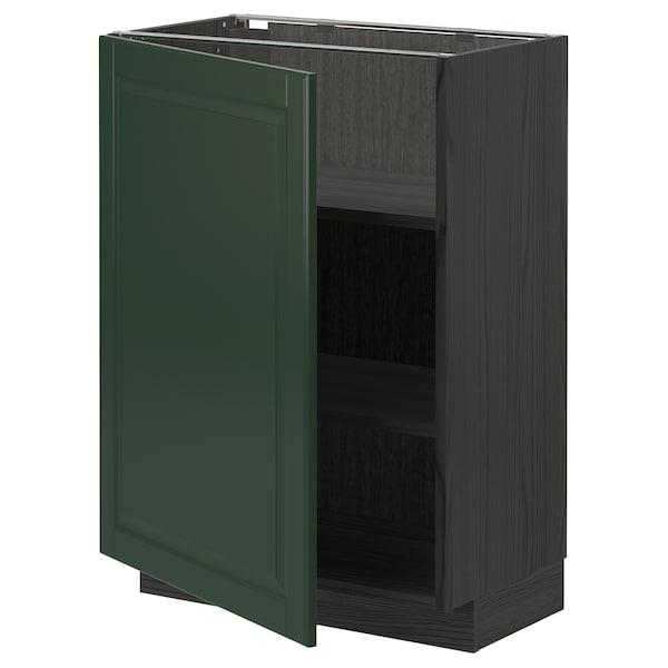 METOD خزانة قاعدة مع أرفف, أسود/Bodbyn أخضر غامق, 60x37 سم