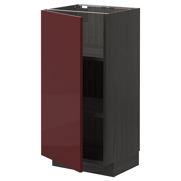 METOD Base cabinet with shelves, black Kallarp/high-gloss dark red-brown, 40x37 cm