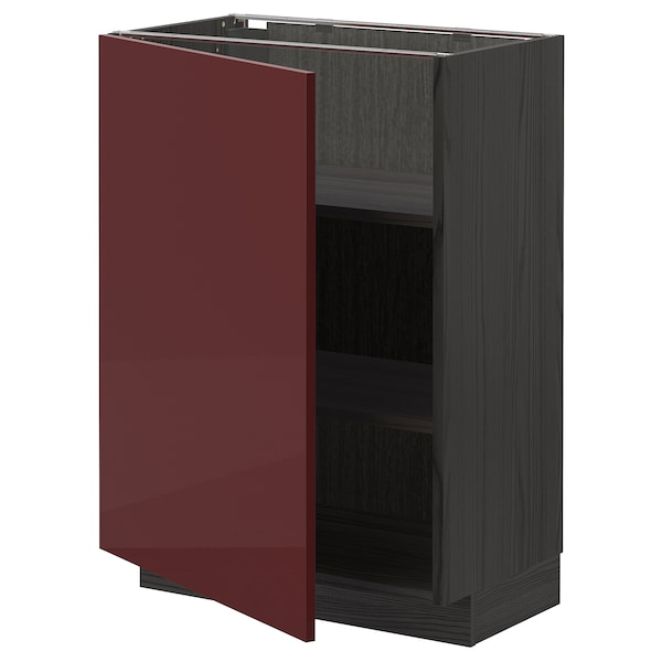 METOD Base cabinet with shelves, black Kallarp/high-gloss dark red-brown, 60x37 cm