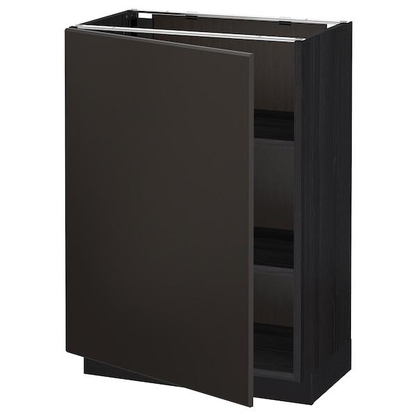 METOD Base cabinet with shelves, black/Kungsbacka anthracite, 60x37 cm