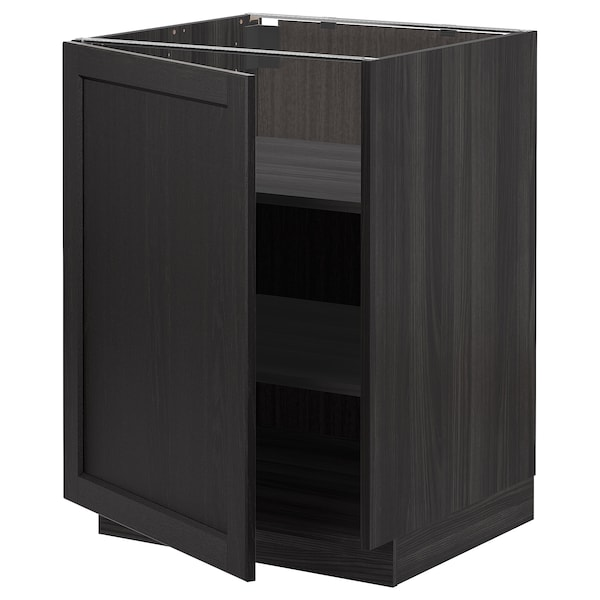 METOD Base cabinet with shelves, black/Lerhyttan black stained, 60x60 cm