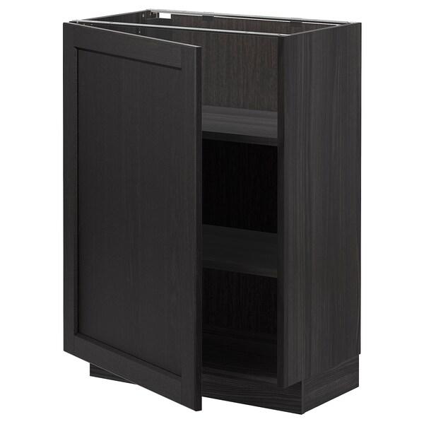 METOD خزانة قاعدة مع أرفف, أسود/Lerhyttan صباغ أسود, 60x37 سم