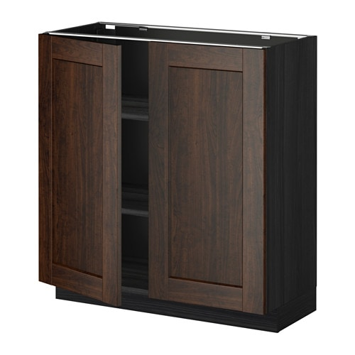 Metod base cabinet with shelves 2 doors wood effect for Wood effect kitchen cupboards