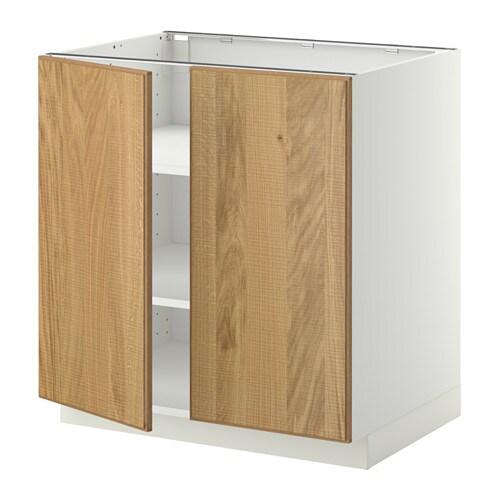 metod base cabinet with shelves 2 doors white hyttan oak veneer 80x60 cm ikea. Black Bedroom Furniture Sets. Home Design Ideas