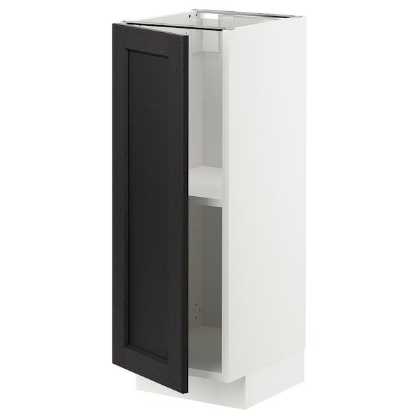 METOD خزانة قاعدة مع أرفف, أبيض/Lerhyttan صباغ أسود, 30x37 سم