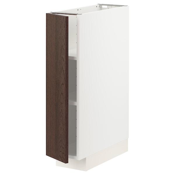 METOD خزانة قاعدة مع أرفف, أبيض/Sinarp بني, 20x60 سم