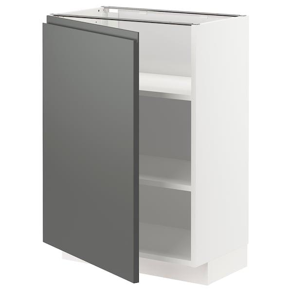 METOD خزانة قاعدة مع أرفف, أبيض/Voxtorp رمادي غامق, 60x37 سم