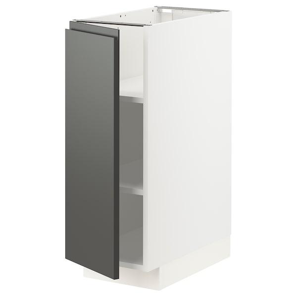 METOD خزانة قاعدة مع أرفف, أبيض/Voxtorp رمادي غامق, 30x60 سم