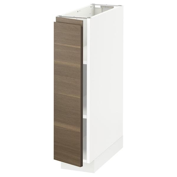 METOD خزانة قاعدة مع أرفف, أبيض/Voxtorp شكل خشب الجوز, 20x60 سم