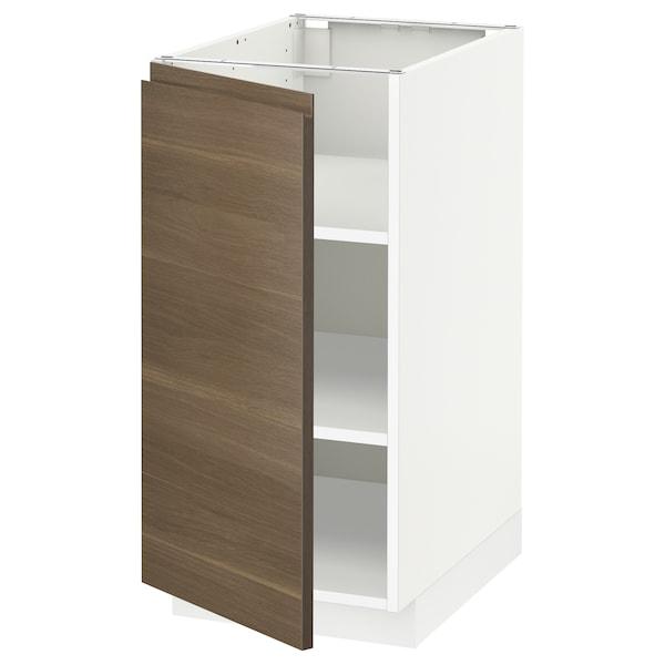 METOD خزانة قاعدة مع أرفف, أبيض/Voxtorp شكل خشب الجوز, 40x60 سم
