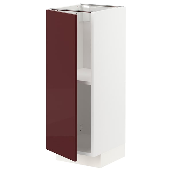 METOD base cabinet with shelves white Kallarp/high-gloss dark red-brown 30.0 cm 39.2 cm 88.0 cm 37.0 cm 80.0 cm