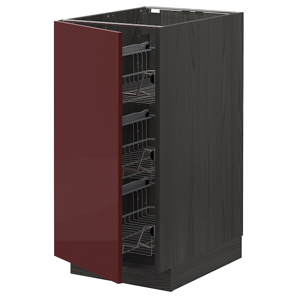 METOD خزانة قاعدية مع سلال سلكية, أسود Kallarp/لامع أحمر-بني غامق, 40x60 سم