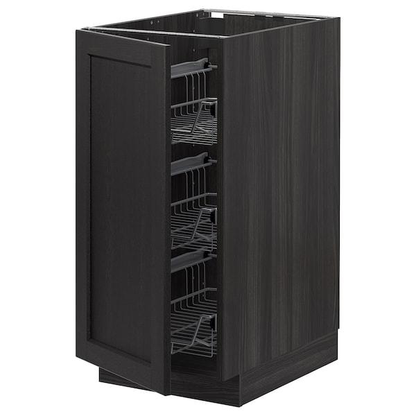 METOD خزانة قاعدة مع سلال سلكية, أسود/Lerhyttan صباغ أسود, 40x60 سم
