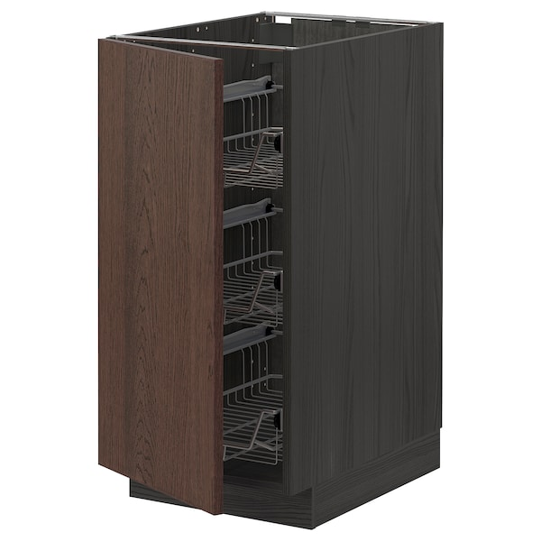 METOD خزانة قاعدة مع سلال سلكية, أسود/Sinarp بني, 40x60 سم