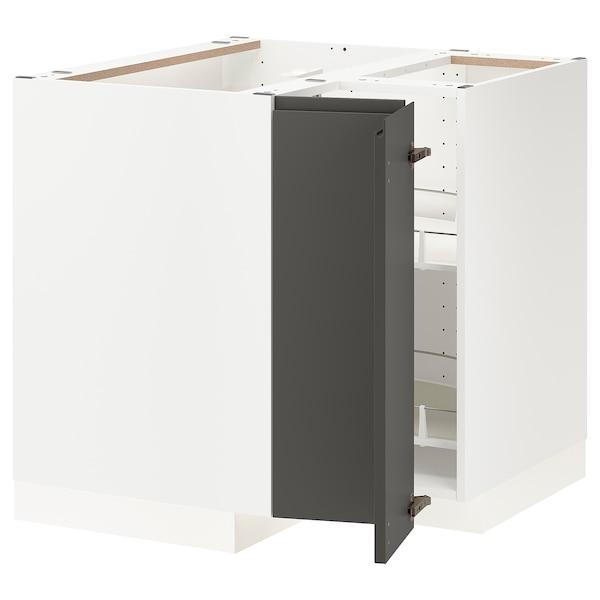 METOD خزانة قاعدة ركنية مع درج دوار, أبيض/Voxtorp رمادي غامق, 88x88 سم