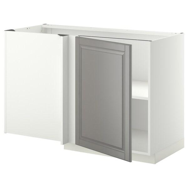 METOD خزانة قاعدة ركنية مع رف, أبيض/Bodbyn رمادي, 128x68 سم