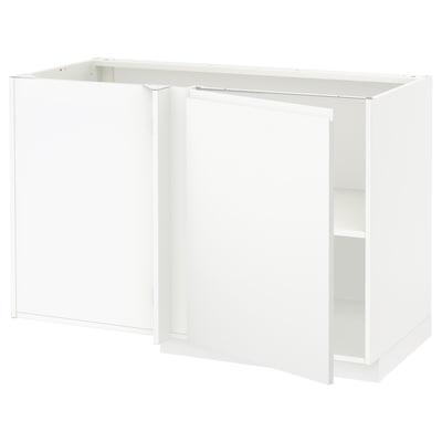 METOD Corner base cabinet with shelf, white/Voxtorp matt white, 128x68 cm