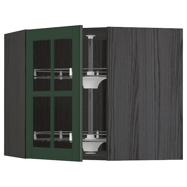 METOD Corner wall cab w carousel/glass dr, black/Bodbyn dark green, 68x60 cm