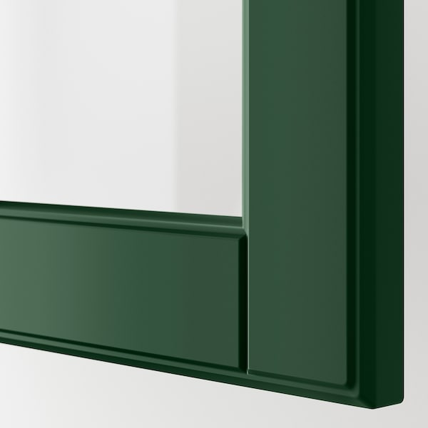 METOD Corner wall cab w carousel/glass dr, white/Bodbyn dark green, 68x60 cm