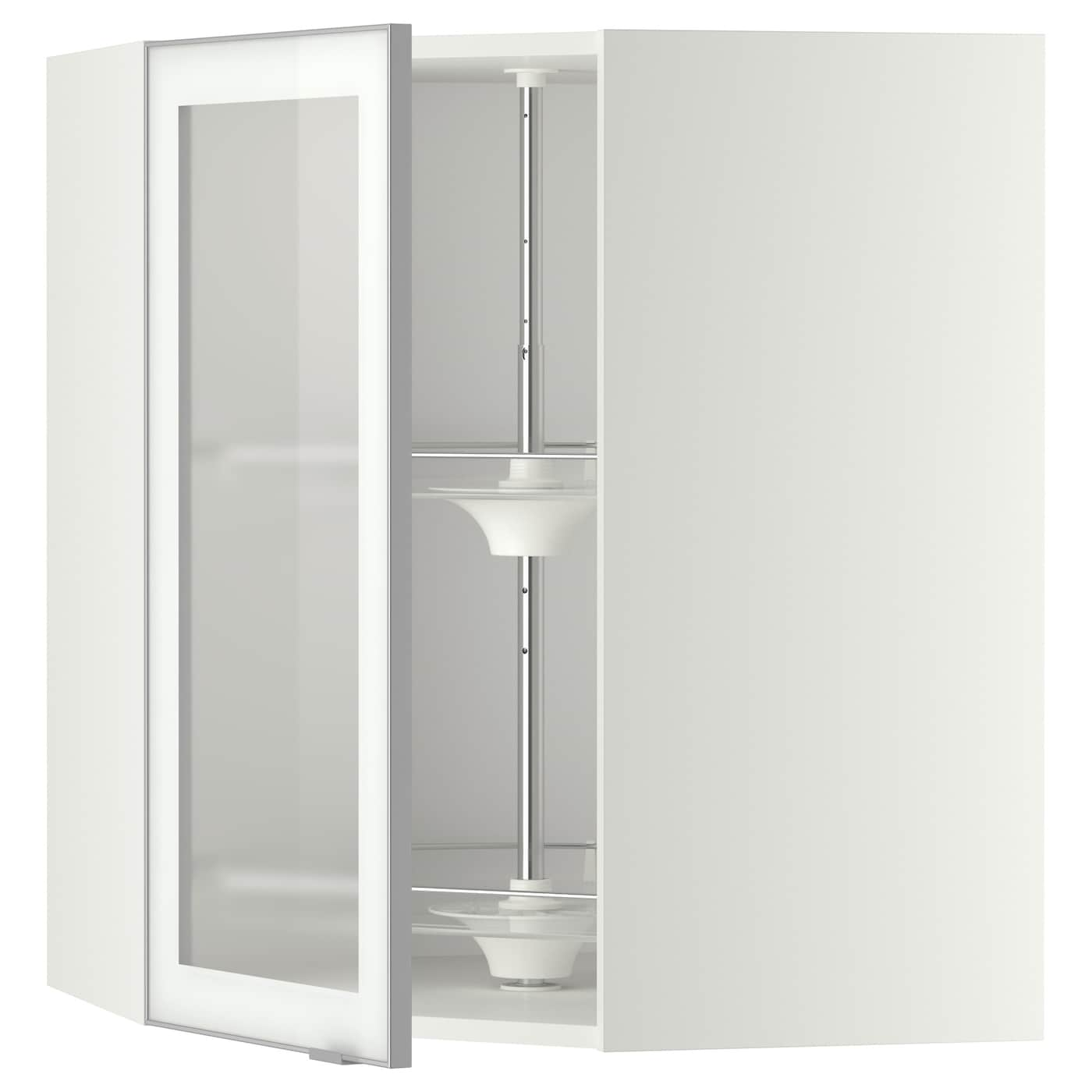 Corner Wall Cab W Carousel Glass Dr Metod White Jutis Frosted Glass