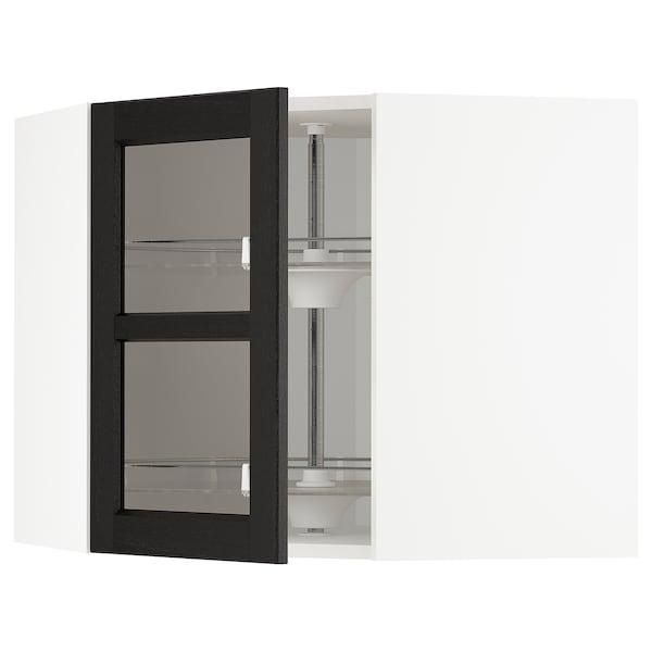 METOD Corner wall cab w carousel/glass dr, white/Lerhyttan black stained, 68x60 cm