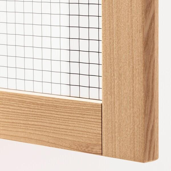 METOD Corner wall cab w carousel/glass dr, white/Torhamn ash, 68x60 cm
