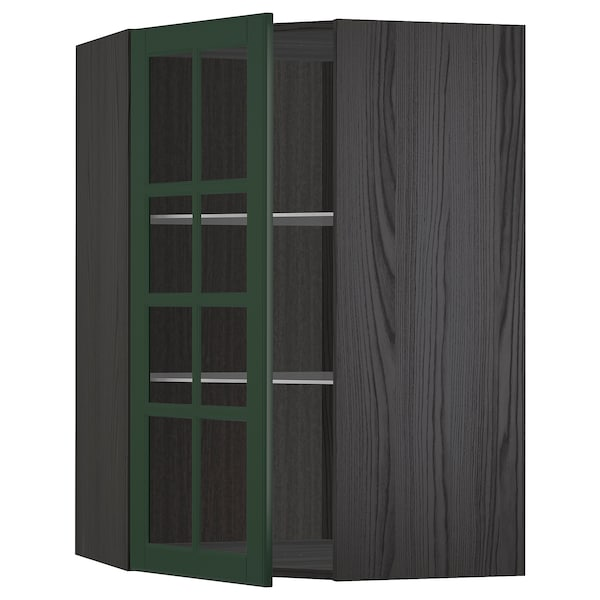 METOD Corner wall cab w shelves/glass dr, black/Bodbyn dark green, 68x100 cm