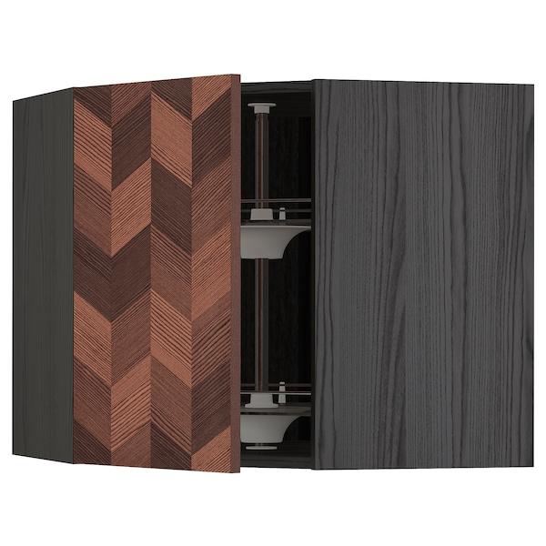 METOD خزانة حائط ركنية مع درج دوار, أسود Hasslarp/بني منقوش, 68x60 سم