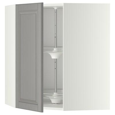 METOD خزانة حائط ركنية مع درج دوار, أبيض/Bodbyn رمادي, 68x80 سم