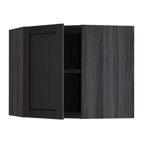 Metod Corner Wall Cabinet With Shelves Wood Effect Black Lerh