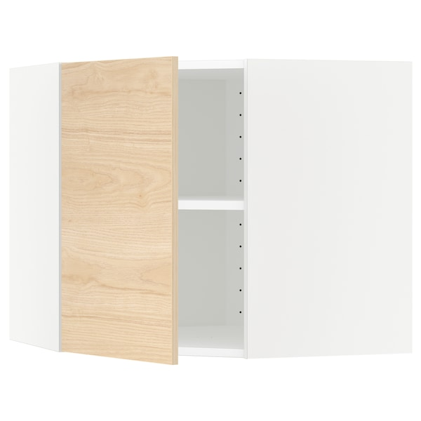 METOD Corner wall cabinet with shelves, white/Askersund light ash effect, 68x60 cm
