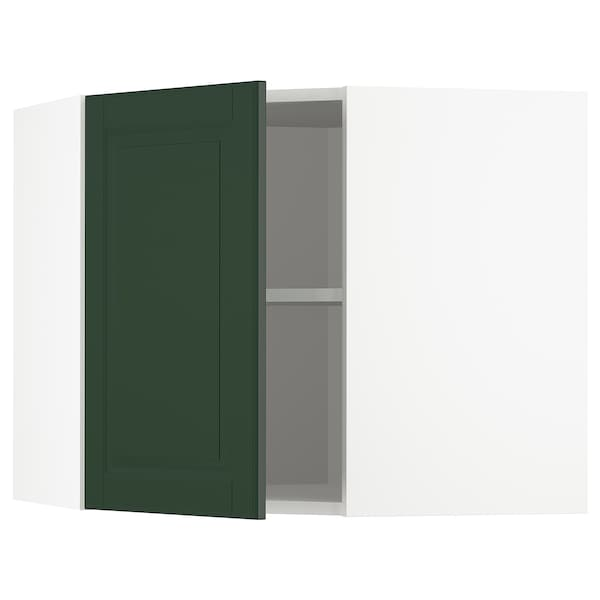 METOD Corner wall cabinet with shelves, white/Bodbyn dark green, 68x60 cm