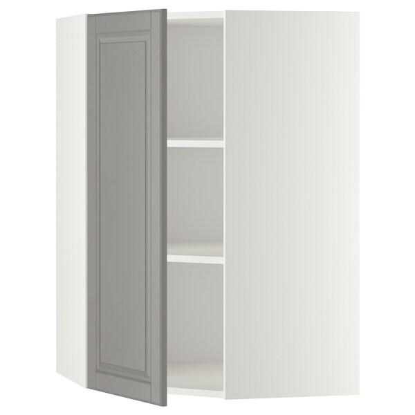 METOD خزانة حائط زاوية مع أرفف, أبيض/Bodbyn رمادي, 68x100 سم