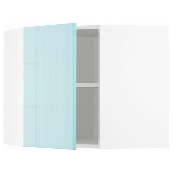 METOD خزانة حائط زاوية مع أرفف, أبيض Järsta/لامع تركواز فاتح, 68x60 سم