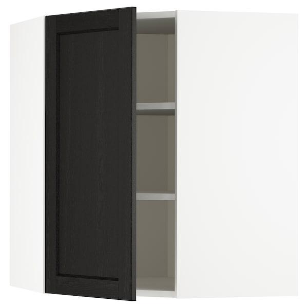 METOD خزانة حائط زاوية مع أرفف, أبيض/Lerhyttan صباغ أسود, 68x80 سم