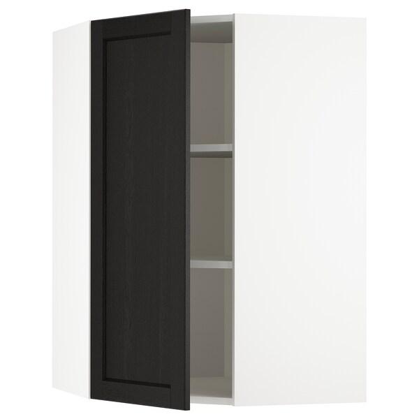METOD خزانة حائط زاوية مع أرفف, أبيض/Lerhyttan صباغ أسود, 68x100 سم