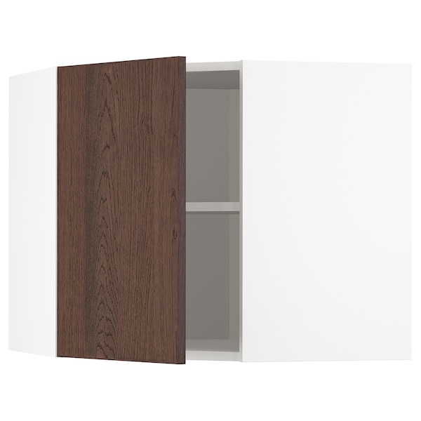 METOD Corner wall cabinet with shelves, white/Sinarp brown, 68x60 cm