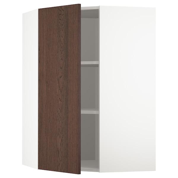 METOD خزانة حائط زاوية مع أرفف, أبيض/Sinarp بني, 68x100 سم