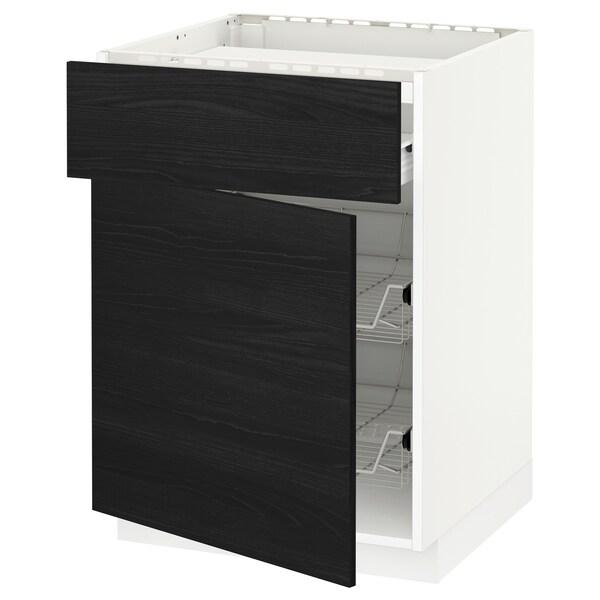 METOD / FÖRVARA base cab f hob/drawer/2 wire bskts white/Tingsryd black 60.0 cm 61.6 cm 88.0 cm 60.0 cm 80.0 cm