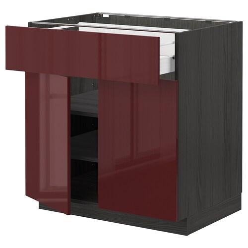 METOD / FÖRVARA base cabinet with drawer/2 doors black Kallarp/high-gloss dark red-brown 80.0 cm 61.6 cm 88.0 cm 60.0 cm 80.0 cm